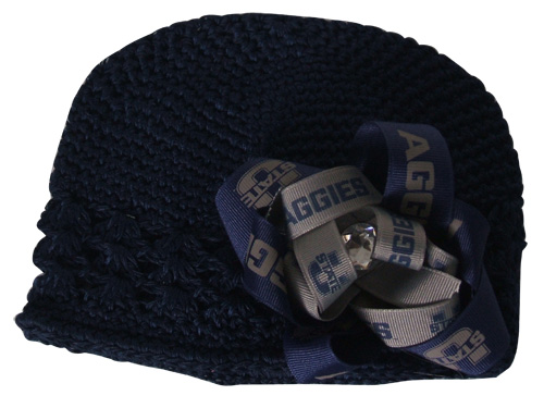 Navy Crochet Flower Hat