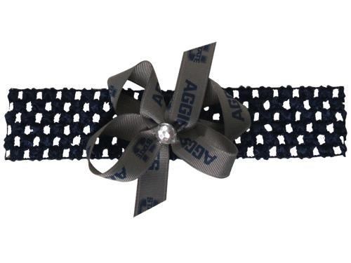 Navy Crochet Flower Headband
