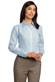 Utah State Ladies Non-Iron Fine Line Button Down Shirt