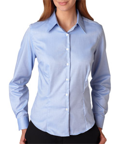 Utah State Ladies LS Royal Oxford Shirt